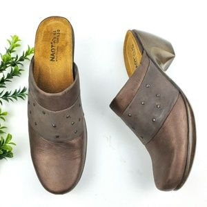 NAOT Eden Metallic Leather Studded Mules S17